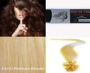 25 Strands Straight Pre Bonded U Nail Tip Fusion Remy Human Hair Extensions 60cm Inches # 613 Platinum Blonde Colour 0.75g Per Strand