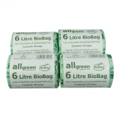 All-Green 6 Litre Biobag Compostable Kitchen Caddy Bin Liners, 200 Bags