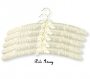 GIFT PACK OF 10 QUALITY PALE IVORY PADDED SATIN COAT HANGERS For Dresses, Lingerie, Bridal wear, Woollens etc - 43CM