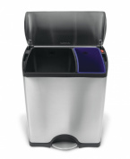 simplehuman Rectangular Recycler, 46 L - Fingerprint-Proof Stainless Steel