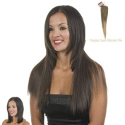 Clip-In Weft Hairpiece | 46cm Long Straight Hair Extensions | Frappe Graduated Ash Blonde and Brown Mix