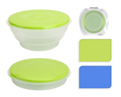 FOOD CONTAINER FOLDABLE 700ML STORAGE CONTAINER SET (x2 Green & Blue) ROUND FOOD BOX