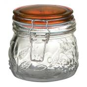 Premier Housewares Round Glass 450 ml Deli Jar with Amber/Orange Plastic Lid and Embossed Fruit Detail