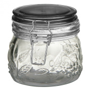 Premier Housewares Round Glass 450 ml Deli Jar with Grey/Black Plastic Lid and Embossed Fruit Detail