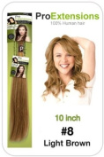 25cm Inch #8 Light Brown Pro Extensions Human Hair Extensions