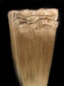 Full Head 46cm 100% Human Hair Extensions Clip in 7Pcs #18 Dark Blonde