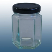 Jam Making and Preserving - Pack Of 6 - Small 55ml Hexagonal Glass Food Jar With Silver Twist Off Lids