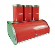 Stainless Steel Red Enamel Front Bread Bin and Tea/Coffee/Sugar Canister Set