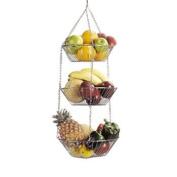 Kitchen Craft Chrome Plated 3 Tier Hanging Vegetable/Fruit Rack