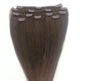 Full Head 60cm 100% REMY Human Hair Extensions 7Pcs Clip in #3 Medium Dark Brown