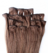 Full Head 70cm 100% REMY Human Hair Extensions 7Pcs Clip in #33 Dark Auburn