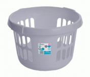 DELUXE ROUND LAUNDRY BASKET NEW SILVER MADE IN UK