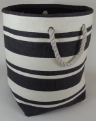 large round soft collapsible bag for toy, linen or laundry storage. Black and White stripes design