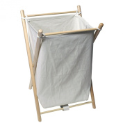 Blue Canyon Round wood Folding Laundry Hamper with Cover