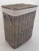 Medium Grey Wicker linen laundry basket distressed finish with calico Lining Retangular
