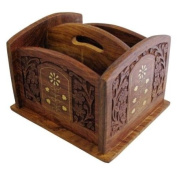 Indian Hand Carved Remote Control Rack with Brass Inlay 4 Compartments Caddy