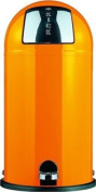 Wesco Kickboy Powder Coated Steel Waste Bin, 40 Litre, Orange