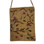 Yair Emanuel Flower Design Gold Embroidered Bag