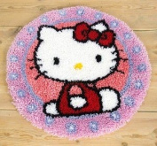 Vervaco PN-0147570 | Lrg Hole Canvas Hello Kitty Rug Latch Hook Kit 55cm Approx