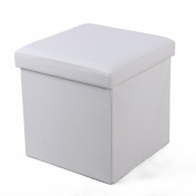 Songmics Faux Leather Folding Storage Ottoman Versatile Space-saving Toy Box Footstool White 38 x 38 x 38 cm LSF103
