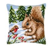 Vervaco Winter Scene Squirrel And Robin Cushion Cross Stitch Kit
