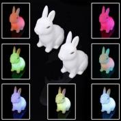 2Pcs Colour Changing Cute Rabbit-Shaped LED Night Light Decoration Bedside Lamp