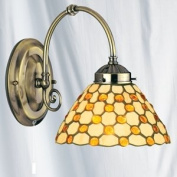 Tiffany Raindrop Antique Brass Finish Wall Light with Brown Droplets, 3141-1BR