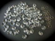 77 x 14mm Octagon Crystals for Chandelier Ceiling Lights With Chrome Rings