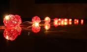 Red Rattan Cane Battery Powered LED Wooden Ball Fairy Light String 3m (9.9 feet) Long