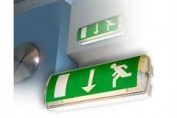 "Emergency Lighting Maintained Emergency Fitting with Internal ""Running Man"" symbols. Max 8 watt"