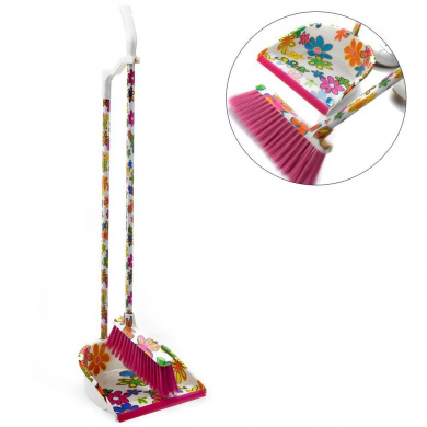 Long Handled Dustpan & Brush Set - funky floral sweeping brush, great kitchen accessory.