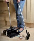 Long Handled Dustpan & Brush No More Bending Down Black Colour Aluminium Handle
