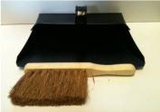 Black Hooded Metal Dust Pan and Soft Brush Dustpan ash pan Traditional Dustpan and Brush