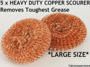 5 x HEAVY DUTYMETAL COPPER SCOURERS LARGE. TOUGH GREASE COPPER SCRUBBER METAL SCOURING PAD COPPER WOOL UTENSIL CLEANER METAL GALVANISED SCOURER PADS CATERING ESSENTIAL