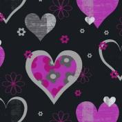 Pink / Black - 533703 - Happy Hearts - Opera Fun - Arthouse Wallpaper