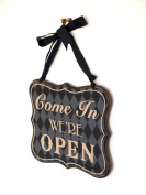 'Open & Closed Sign - Shabby Chic Distressed Wooden Reversible Hanging Door Sign