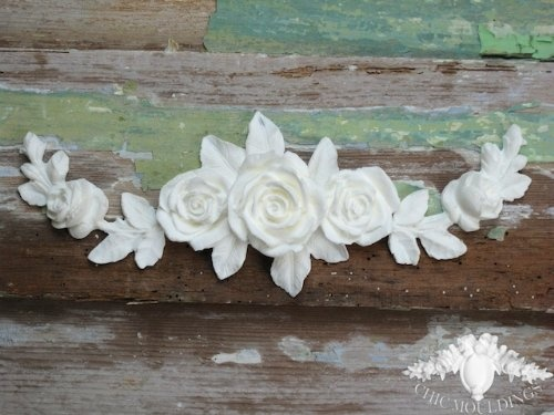 Shabby chic moulding applique rose bouquet cluster & roses vine