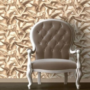 Coffee / Cream - F72907 - 3D Gathered Silk Effect - Crushed Velvet - Muriva Wallpaper