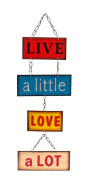 Retro Vintage 'Live A Little Love A Lot'' Hanging Metal Wall Plaque Sign