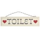 Rustic Wooden Toilet Sign