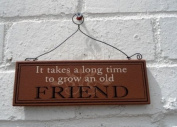 Hanging Wall Plaque - It Takes A Long Time To Grow An Old Friend - Wooden Wall Sign