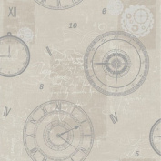 Silver / Taupe - 617203 - Timeless - Clocks & Compasses - Arthouse Wallpaper
