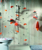 Spirella Goldfish Orange Plastic Shower Curtain 100% PVC Transparent Orange 180 cm x 200 cm