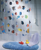 Spirella Fish PEVA Clear Plastic Shower Curtain, 180 x 200 cm, Blue/ Orange/ Yellow/ Black/ Green