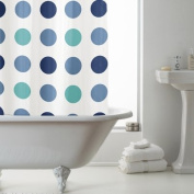 PEVA Shower Curtain Blue Spots Blue