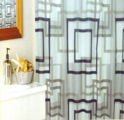 Shower curtain with hooks - Geometric - Grey