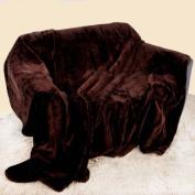 Large Mink Faux Fur Throw 150cm x 200cm - JAVA BROWN