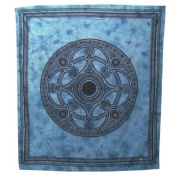 Celtic Mandala Bedspread / Printed Cotton Bed Cover / Indian Bedspreads - Blue