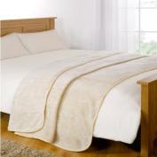 Mink Faux Fur Throw, Cream, 150 x 200 Cm