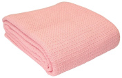 Homescapes - 100% Organic Cotton Waffle Blanket - Pink - King Bed Size 250 x 230 cm - Super Soft Combed Cotton Blanket Throw